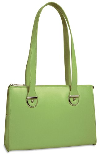 Ladies Briefcase Green - Jack Georges Milano Collection Top Zip Shoulder Leather Handbag in Green