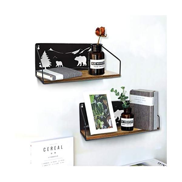 Amazon Brand-Umi, mensole sospese da paret in Legno e Ferro,Set da 2 per Cucina,Soggiorno,Cameretta Scaffale Sospeso Decorazione 5 spesavip