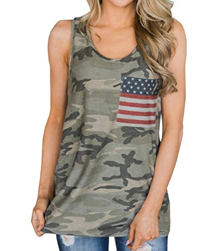 Elechobby Womens Casual Sleeveless Camouflage Tank Tops American Flag Print Racerback Camo Shirts (Army Green, XL)