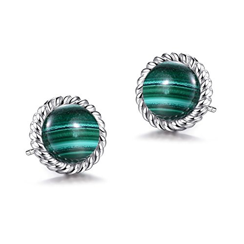925 Sterling Silver Round Cut Natural Gemstone Multi-Type Stones Rope Stud Earrings