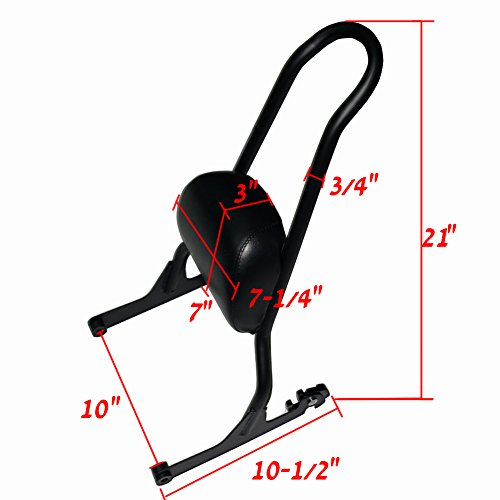 Black Motorcycle Detachable Backrest Sissy Bar For Harley Fatboy LO FLSTF Softail FXST FLST CVO by Beautyexpectly (Image #5)'