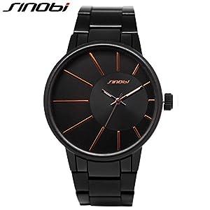 Watch, Steel Quartz Business Wristwatch for Men Black reloj de pulsera