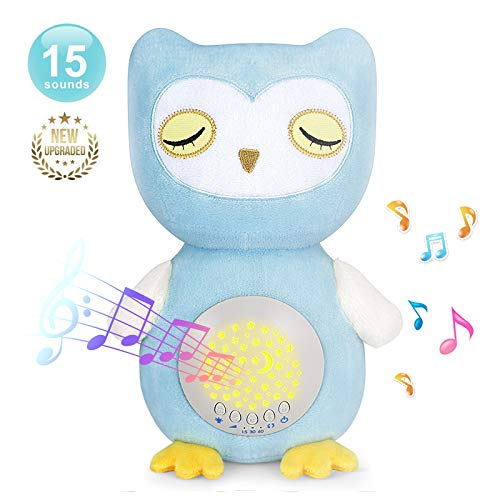 A11 Baby Soother Owl Plush Infant Toy with 15 Soothing Sounds, Auto Off Timer, Moon Starry Night Light Projector Sound Machine, Portable & Washable White Noise Machine for Crib, Travel & Home