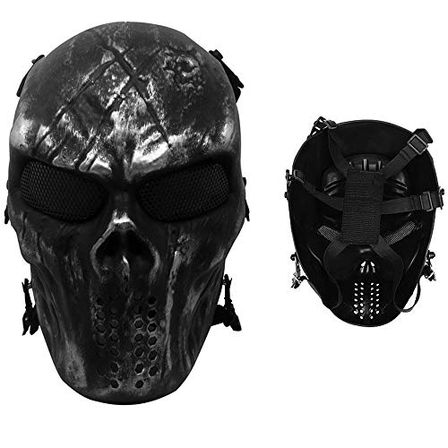 Snoblass Skull Airsoft Masks Full Face, Paintball Airsoft BB Tactical Cs War Game Outdoor Cosplay Halloween Mask Skull Skeleton Full Face Mask Anti Fog Eye Kids with Metal Mesh Eye Protection