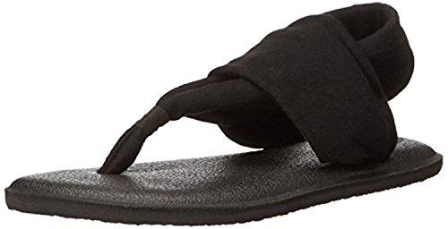 Price comparison product image Sanuk Girls' Youth Yoga Sling Burst Sandals Black 4/5 & Shoe Cleaner Bundle