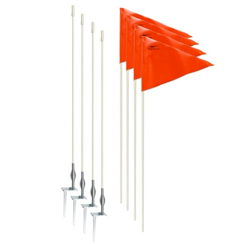 AGORA Hardground Portable Fiberglass Soccer Corner Flags - Set of 4