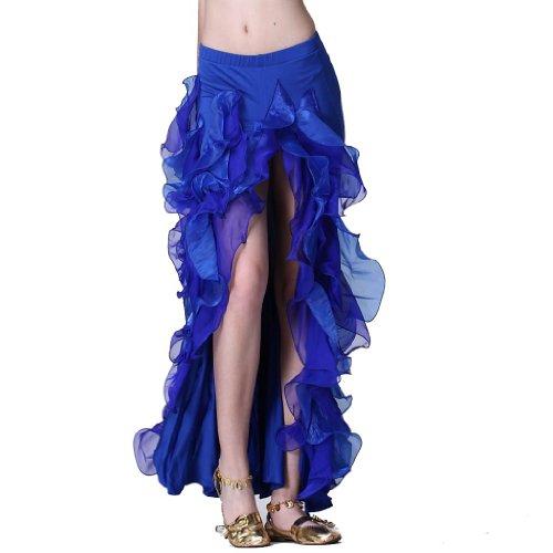 ZLTdream Women's Belly Dance Side-opening Skirt Dark Blue -