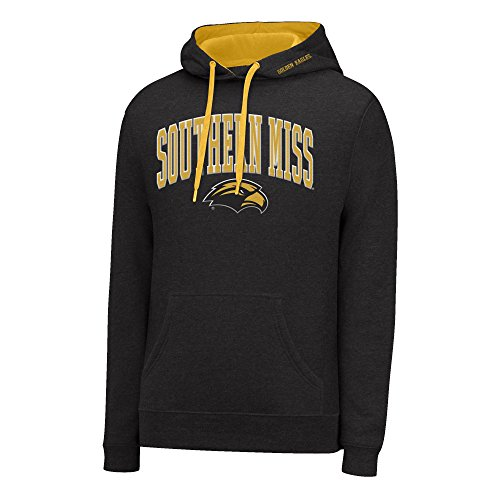 J America NCAA Southern Mississippi Golden Eagles Men's Single Dye Arched School Name Twill Hoodie, Black HTR/Gold, Large (The University Of Mississippi Sports Team Name)