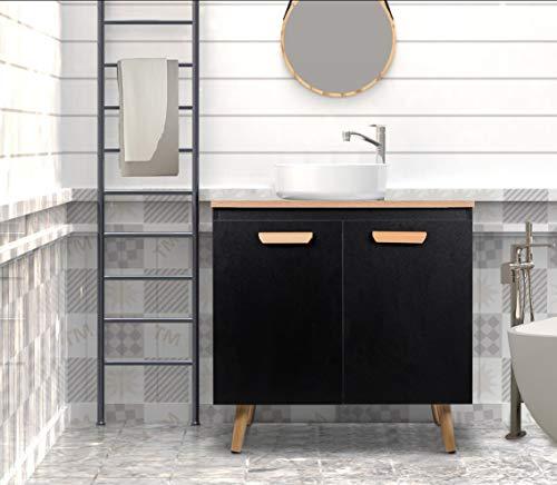 eSituro SBP0061 Armoire sous lavabo Meuble avec Pieds Salle de Bain Rangement 2 Portes Noir