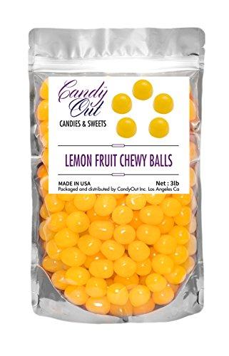 CandyOut Yellow Lemon Chewy Candy Sour Balls - 3lb
