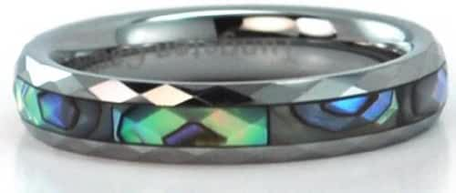 4mm Wide Faceted Tungsten Carbide Ring with Mother of Pearl Inlays