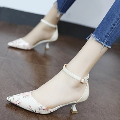 Beige Sello Qiqi zapatos única hembra flor ranurados la Xue para de punta aire talón elegante silvestre chipriota del alto Zapatos q5dHT