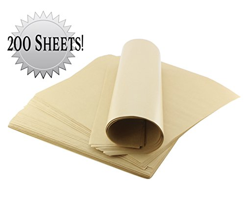 "Food Safe Kraft Tissue Paper 12"" x 11"" (200 Pieces); Natural Brown Sandwich Paper Liners for Food Baskets / Wrapping Food / Deli"