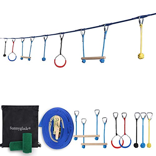 Sunnyglade Backyard Ninja Line Hanging Obstacle Course/Slackers Ninja Line Accessories for Kids - 40ft Slackline Kit with 2 Bars, 3 Fists & 2Rings Perfect Ninja Warrior Training Equipment ()