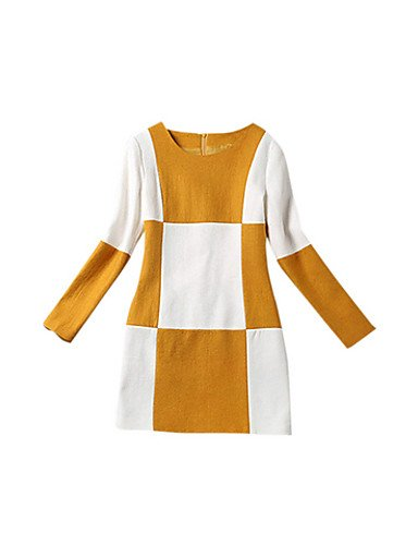 PU&PU Robe Aux femmes Gaine Simple / Street Chic,Couleur Pleine Col Arrondi Mini Polyester , yellow-xl , yellow-xl