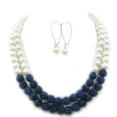 Navy Blue Necklace,Pearl Necklace,Bridal Party Jewelry,Necklace And Earring Set,Layered Necklaces,Statement Necklace,Bib Necklace,Chunky Necklace,Bridesmaid Gifts,Gift For (Navy Pearl Necklace)