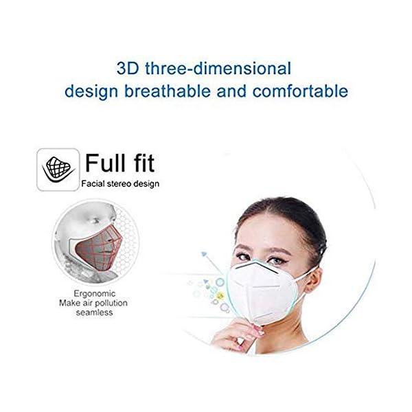 Mascarillas N95, Máscaras Desechables Protección de 5 Capas Reutilizable Transpirable y PM2.5 para Hombres y Mujeres para Deportes al Aire Libre, Fumar, Ciclismo, Viajes 3