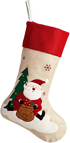 ARCCI Burlap Christmas Stocking, Santa Claus & Snowflake Pattern, 18in Large Craft Stockings Decorations Xmas Tree Rustic Ornaments (Beige & Red)