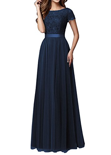 Bridesmaid Anlin Prom Evening Dress Sleeves AN151 Dresses Lace Women s Navy Tulle xTUWU6q