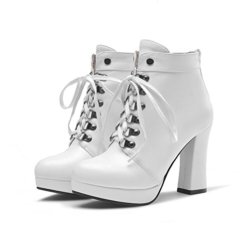 Leather White Chunky Heels Girls Bandage 1TO9 Platform Imitated Boots wdn81Y8Wqa