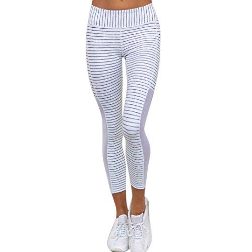 Neartime Women Yoga Pants, High Waist Striped Sports Yoga Leggings Running Fitness Pants Athletic Trouser (M, White)