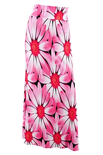 Multifit Women Fold Over High Waisted Elastic Floral Printed Long Skirt Maxi Skirt(Pink Daisy-M) ()