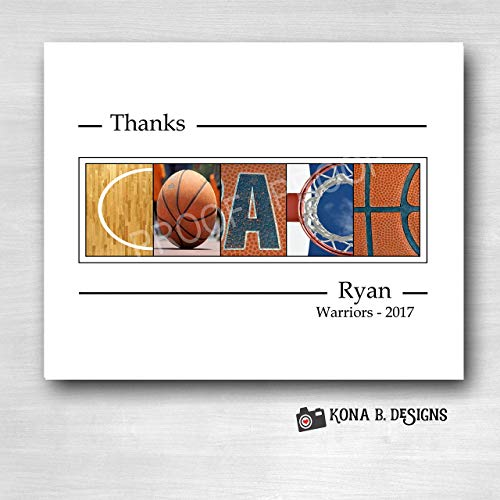 Basketball Coach's gift - Team gifts - 8x10 Coach's gift - Alphabet Photography
