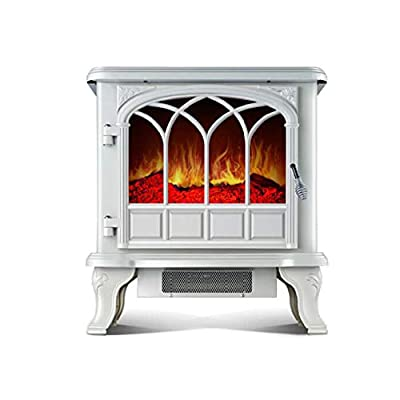 Air Conditioners CJC Electric Heaters Fireplace Stove Fireplace Hearth Heater Flame Effect White 2000W Portable