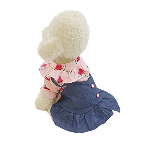 Pet Denim Dress with Cute Watermelon Pattern Print Flare Comfy Skirt Ruched Summer Clothes for Cats Dogs (S, Pink) -