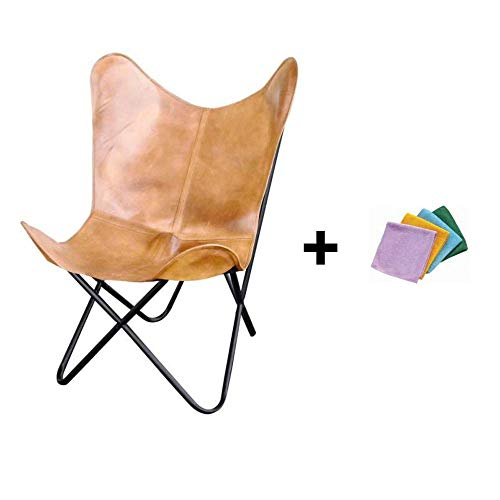 Light Tan Natural Leather Butterfly Chair + Reusable Cloth (Sling Leather Chair Butterfly)