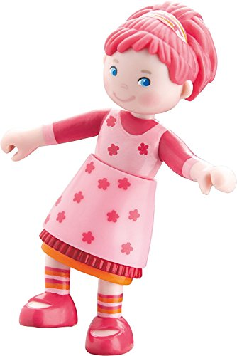 """HABA Little Friends Lilli - 4"""" Bendy Girl Doll Figure with Pink Hair"""