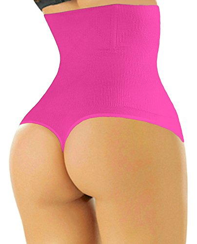 ShaperQueen 102 Best Womens Waist Cincher Body Shaper Trimmer Trainer Slimmer Girdle Faja Bodysuit Short Tummy Belly Weighloss Control Brief Corset Plus Size Underwear Shapewear Thong (XXL, Hot Pink)