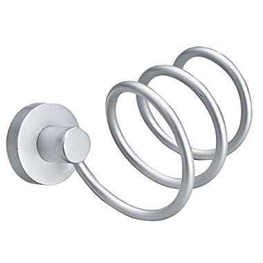Showutheworld Premium Aluminum Hair Blow Dryer Holder Spiral Practical Wall Mount Hang Shelf Bathroom Accessories Set Convenient Households Rack