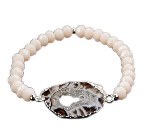 Agate Quartz Bracelet (JAB 6mm Cream Beads Bracelet Silver Plated Natural Onyx Druzy Agate Slice Bracelet)