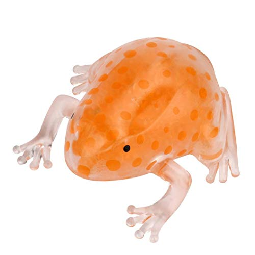 Tcplyn Premium Quality Novelty Funny Toy, Novelty 8cm Bead Stress Ball Sticky Squeeze Frogs Squeezing Stress Relief Toy Orange