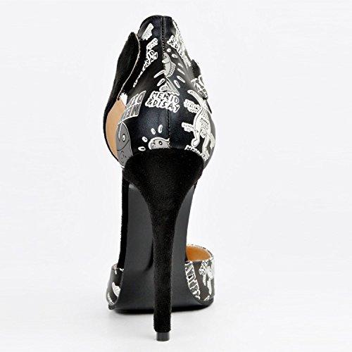 Piel de Para de Sandalias garlos Mujer Negro Vestir wPIS85nTq