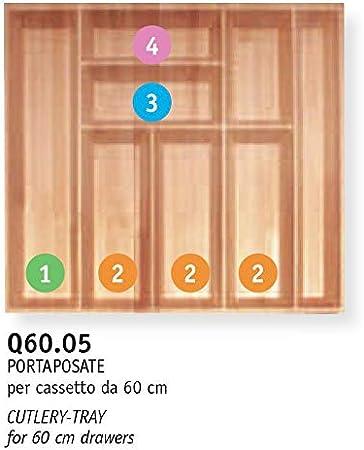 B.Arredo - Cubertero de madera maciza de haya evaporada - 60 cm ...