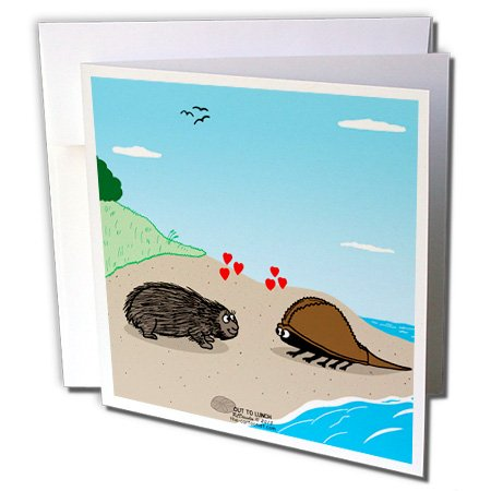 - 3dRose Porcupine Meets Horseshoe Crab - Love - Greeting Cards, 6 x 6