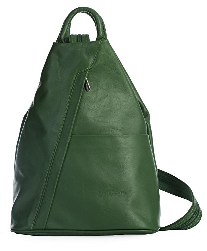 Liatalia Vera Pelle Made In Italy - Backpack Leather Bag For Green Woman