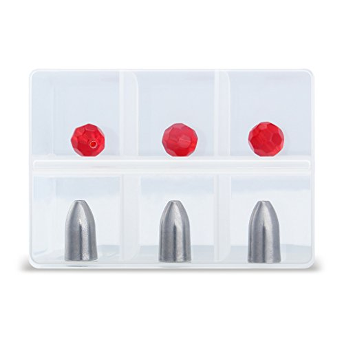 Booms Fishing Tungsten Bullet Weight with Glass Beads Storage in Small Case,Using in Texas Rig and Carolina Rig
