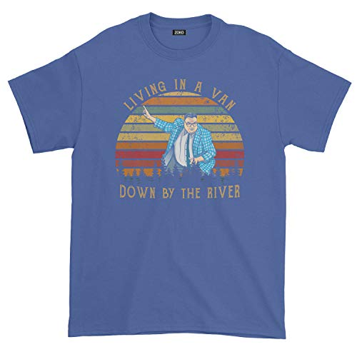 Men's Living in A Van Vintage T-Shirt (L, Royal Blue) (Matt Foley Van Down By The River)