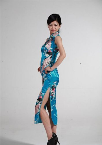 Jtc Women's Chinese Silk Peacock Long Cheongsam Dress (xx-large, blue) by Jtc (Image #3)