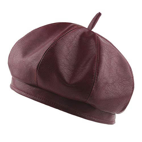 Flat Cap Unisex, NRUTUP Vintage Beret Hat in Macarons Solid Color, London Style, Autumn Winter Outdoor Cap for Sun Protection (Wine, Free Size)