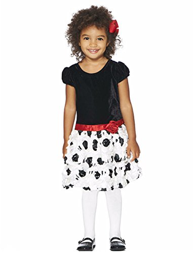 Nannette Little Girl's Drop Waist Velvet Rosette Holiday Dress with Red Rose (4)
