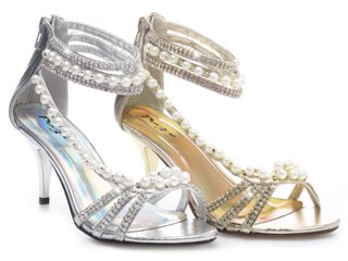 Evening Party Wedding Bridal Prom Pearl Gold Silver Diamante Sandals Shoes 51 Gold Uk