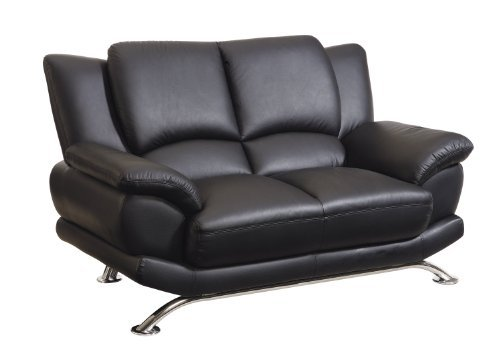 (Global Furniture Rogers Collection Bonded Leather Matching Love, Black with Chrome Legs)