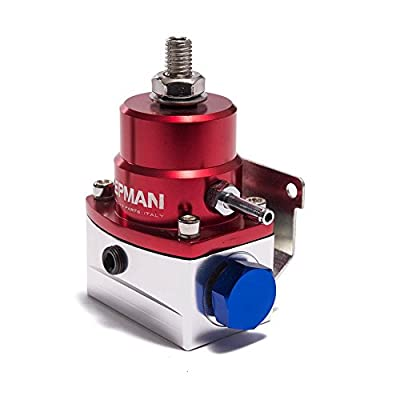 AE Style Injected Bypass Fuel Pressure Regulator 0-150 Psi Adjustable Red-Sliver AN6 - AN6