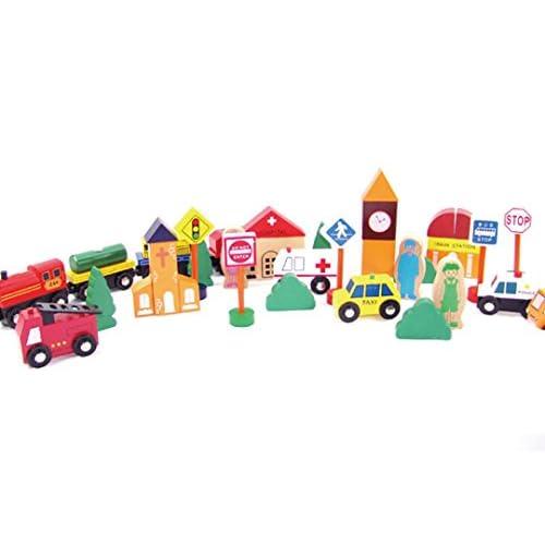 ABBY Enfant Trafic en Bois Blocs de Construction Jouets Educative jouets de Train Voiture