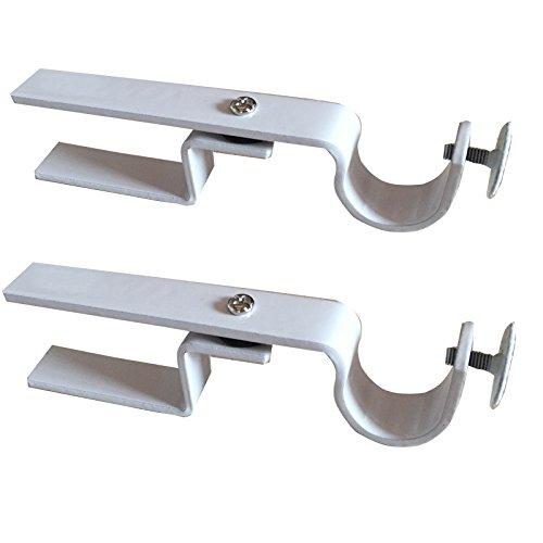 NONO Bracket - Inside Mounted Blinds Curtain Rod Bracket Attachment (White - Set of 2)