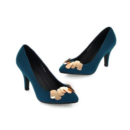 B 5 WeiPoot Closed Frosted Womens Solid M Pumps Metalornament Toe Po2015ted US 4 with PU Heel Blue High qUZHqFw